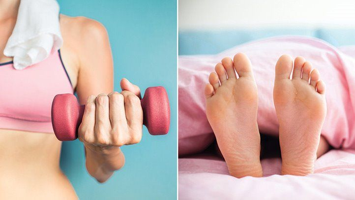 a woman exercising and sleeping